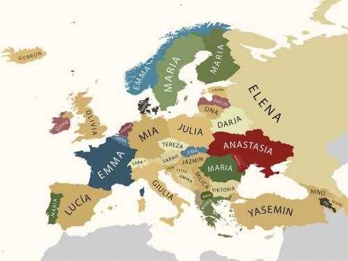 Карта европейских имен