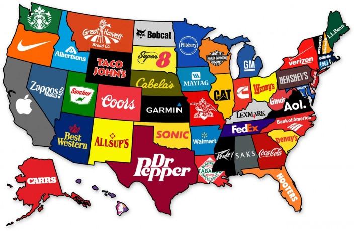 Карта американских брендов